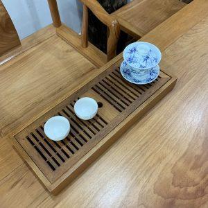 khay trà gỗ hương dáng hộp dài đựng ấm chén trà thủ công bền đẹp ktg19 43x17cm.