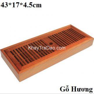 khay trà gỗ hương dáng hộp dài đựng ấm chén trà thủ công bền đẹp ktg19