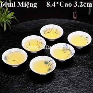 chén trà sứ họa tiết sen cá trong lòng chén rẻ đẹp cs13