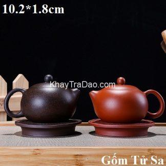 đế ấm trà tử sa dáng tròn họa tiết chữ phúc thủ công để kê ấm trà đẹp