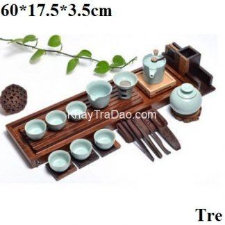 khay đựng ấm chén trà bằng tre kiểu dáng dài hiện đại bày đồ trà đẹp ktt06