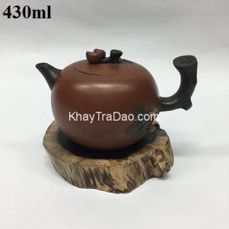 bình trà tử sa nguyên khoáng nghi hưng thủ công dáng quả đào dung tích lớn đẹp