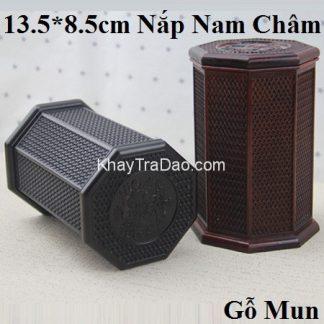 hũ đựng trà gỗ mun dáng bát giác họa tiết đan nong mốt nắp nam châm khít chặt