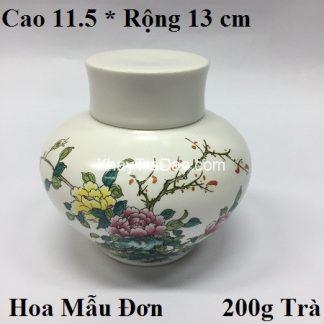 hũ đựng trà sứ cao cấp họa tiết hoa mẫu đơn nắp khít dễ mở bền đẹp