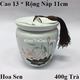 hũ đựng trà sứ họa tiết sen đẹp nắp khít có dây cầm bền đẹp