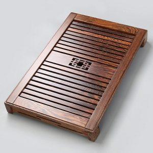 khay để ấm chén bằng gỗ cánh gà cao cấp bền đẹp có khay nhựa hứng nước 55x35cm