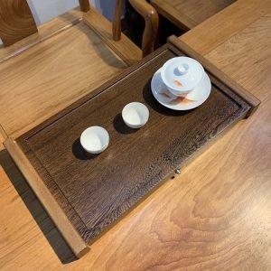 khay trà bằng gỗ nguyên khối cánh gà để ấm chén trà bền đẹp sang trọng 48x28cm