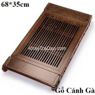 khay trà gỗ bằng gỗ cánh gà để ấm chén trà thủ công đẹp dáng chân rồng