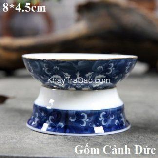 lọc trà sứ gốm cảnh đức họa tiết hoa mẫu đơn xanh màng lọc bền chắc