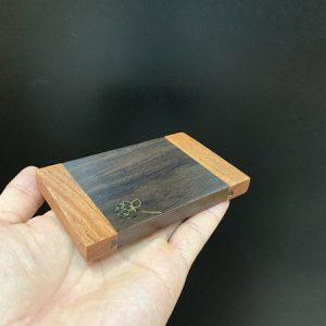 lót lý trà gỗ gụ viền hương hình chữ nhật đẹp dùng để kê chén trà thủ công 11x6,8cm