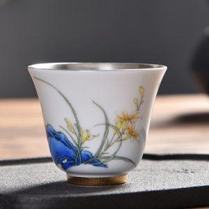 chén thiên mục tráng bạc trong lòng chén họa tiết hoa lan vẽ tay đẹp uống trà ngon 70ml