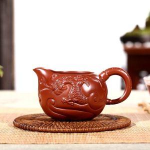 chén tống tử sa dùng làm chuyên trà đẹp đắp nổi ngư hoá long 300ml