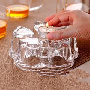 đế hâm nóng ấm trà thủy tinh hính trái tim dùng với nến thơm bền đẹp.