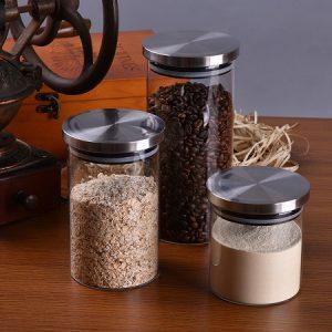 lọ trà thủy tinh nắp gioăng cao su cực khít đựng trà và ngũ cốc rất đẹp có 3 cỡ