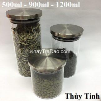 lọ trà thủy tinh nắp gioăng cao su cực khít đựng trà và ngũ cốc rất đẹp