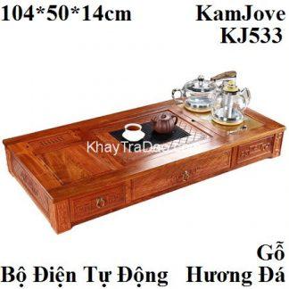 bàn pha trà bằng điện gỗ hương đá kèm bếp đun nước pha trà tự động kamjove kj533 chính hãng