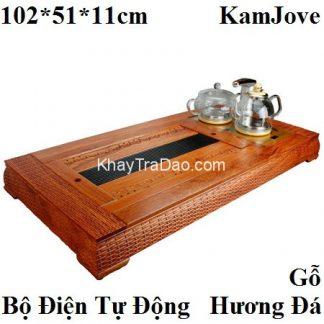 bàn uống trà điện kèm bếp đun nước pha trà tự động chính hãng Kamjove khung gỗ hương đá