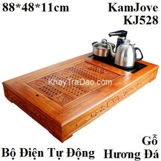 bộ bàn trà điện kamjove khung gỗ hương đá kèm bếp đun nước tự động đa năng kj528