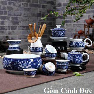 bộ tách trà đẹp gốm cảnh đức trấn họa tiết hoa mẫu đơn có cả bộ dụng cụ pha trà