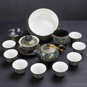 Bộ tách trà đẹp gốm sứ cao cấp hoạ tiết phỏng cổ lòng trắng có cả thuyền trà AT06