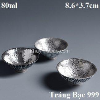 chén thiên mục tráng bạc 999 dáng miệng loe họa tiết bạc đẹp ctm14