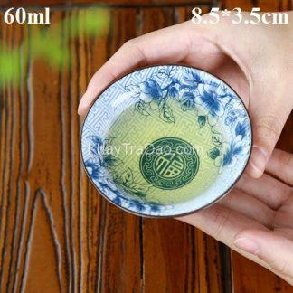 chén trà sứ đẹp gốm cảnh đức cao cấp dáng miệng loe nhiều họa tiết nhìn rõ màu trà