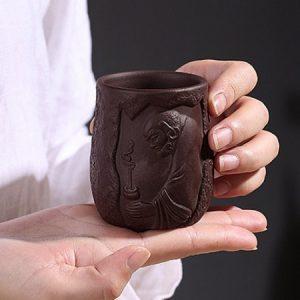 Chén tử sa đạt ma đắp nổi hắc kim sa làm ly trà chủ đẹp 150ml