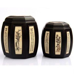 hũ đựng trà gỗ mun dáng trống bát giác khảm tứ quý mai lan cúc trúc cỡ nhỏ 100g