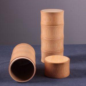 hũ đựng trà tre nắp kiểu mộng rất khít dáng đốt trúc thủ công đẹp cao 22cm