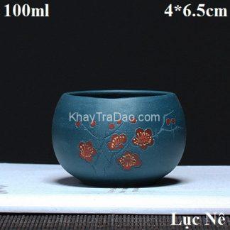 ly trà tử sa nguyên khoáng lục nê họa tiết hoa đào đỏ thủ công đẹp