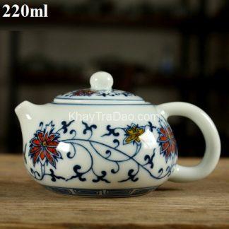 ấm trà sứ dáng tây thi nhũ gốm cảnh đức trấn giang tây họa tiết hoa đẹp as11