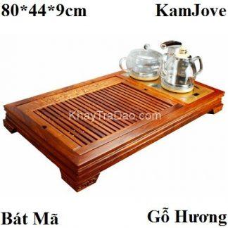 bàn trà điện đa năng khung gỗ hương khắc bát mã kèm bếp tự động bơm nước