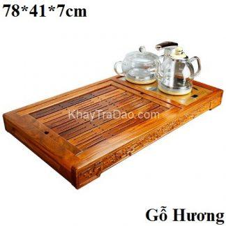 bàn trà điện thông minh gỗ hương kèm ấm trà điện tự động đa năng kj536
