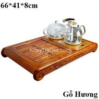 bàn trà thông minh bằng gỗ hương ta kèm bộ ấm pha trà điện đa năng tự động kj537