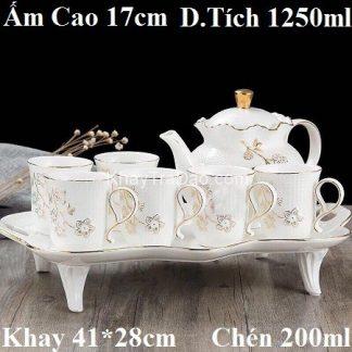 bộ ấm trà châu âu phong cách hoàng gia gốm sứ cao cấp họa tiết hoa mai đẹp.
