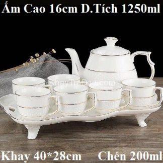 bộ ấm trà châu âu gốm sứ cao cấp dáng ấm to dung tích 1250ml viền vàng đẹp