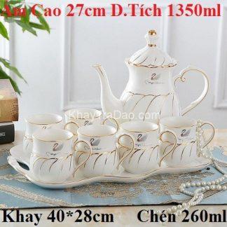 bộ ấm trà châu âu phong cách hoàng gia họa tiết thiên nga có cả khay trà đẹp