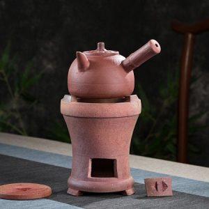 Bộ bếp đun nước pha trà tử sa dùng than củi hoặc cồn dáng bếp lò có kèm cả ấm