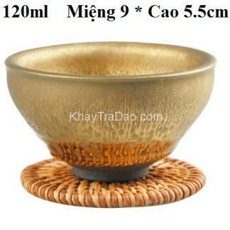 chén thiên mục vàng dạng chén tướng có từ tính mạnh giữ được hương trà lâu