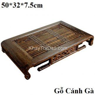khay trà bằng gỗ mun đuôi công để ấm chén trà chân cuốn thư đẹp
