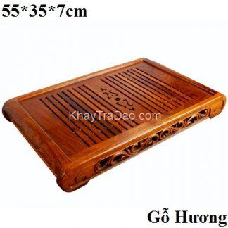 khay trà bằng gỗ hương ta dáng chân quỳ viền phỏng cổ để ấm chén trà bền đẹp