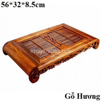khay trà gỗ hương để ấm chén trà bền đẹp viền phỏng cổ chân cong ktg27