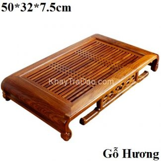 khay trà gỗ hương ta đựng ấm chén dáng chân uốn phỏng cổ bền đẹp ktg29
