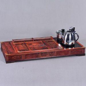 bàn trà điện cao cấp đẹp gỗ thịt bao gồm cả bếp đun nước pha trà tích hợp sẵn.