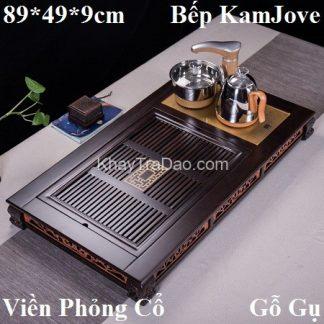bàn trà điện đẹp phần khay bằng gỗ gụ đi kèm bếp đun nước tự động kamjove kj535