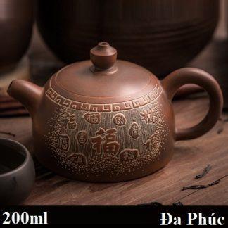 ấm trà nê hưng dáng bán nguyệt khắc đa phúc công năng hoàn hảo