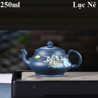 bình trà tử sa dáng thang bà họa tiết hoa lan khoáng nghi hưng lục nê