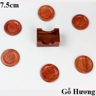 đế chén trà gỗ hương dáng tròn dùng để kê lót ly trà bền đẹp
