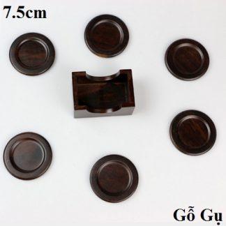 lót ly trà gỗ gụ dùng làm đế chén trà bền đẹp dáng tròn có khay để