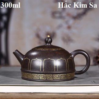 ấm trà tử sa cao cấp dáng bán nguyệt họa tiết nhũ vàng tăng mao khoáng hắc kim sa